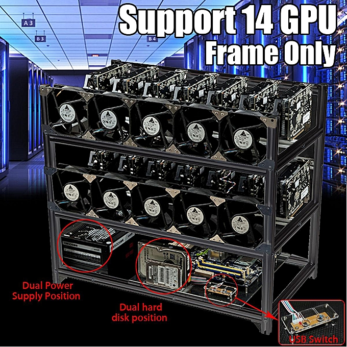 Aluminum 14 GPU Open Air Mining Rig Frame Case With USB Switch Dual Power  Supply Position NOT INCLUDE Fans
