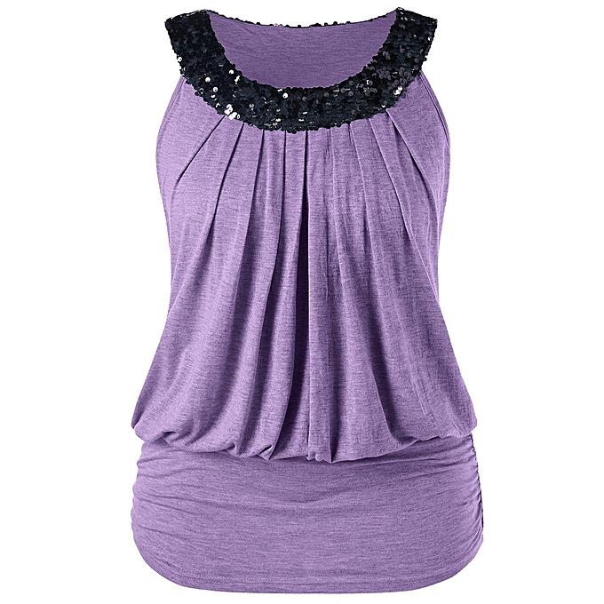 95da22ee Hiamok Fashion Women Plus Size Sleeveless Sequins Sparkly O-Neck Tank Tops  T-shirt