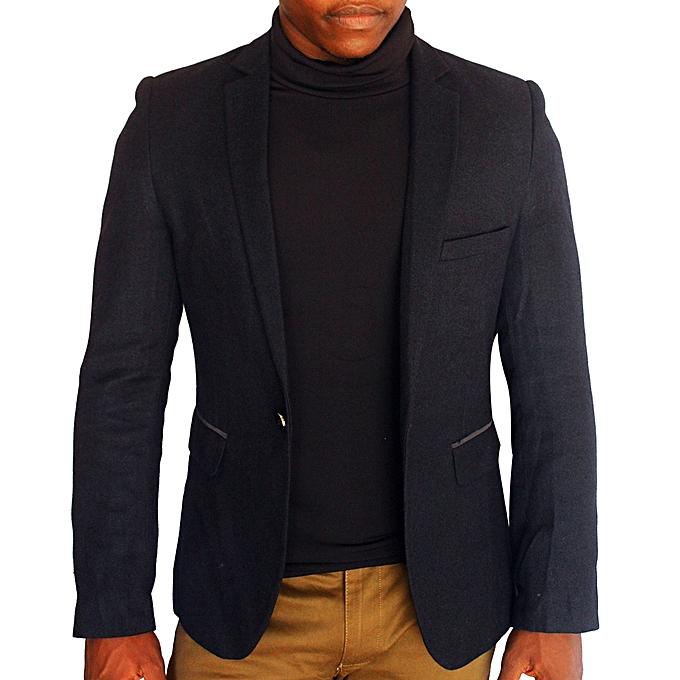 Generic Long Sleeve Slim Fit Blazer - Black