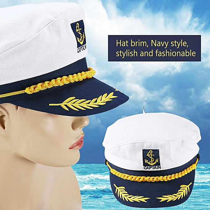 e7a2ca3167cd85 【Big Sale】Natural Cotton Classic Military Caps Adult Children Uniform  Costume Navy Officer Hat