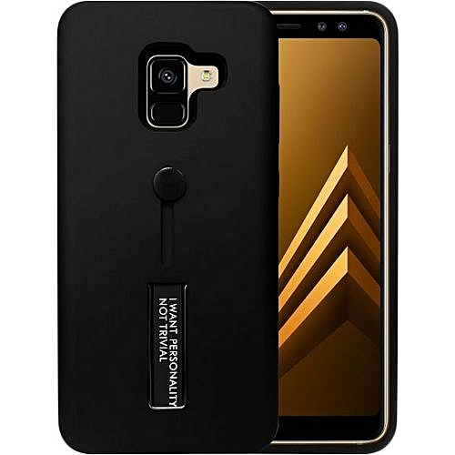 info for a879d 4ab5a Samsung Galaxy A8 Plus 2018 Matte Shockproof Ring Stand PCplusTPU Back Case  Cover - Black