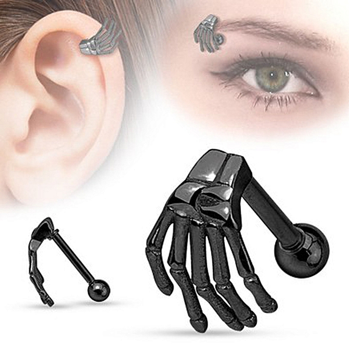 Stainless Steel Earring Skeleton Ghost Hand Ear Tragus Piercing Body Jewelry