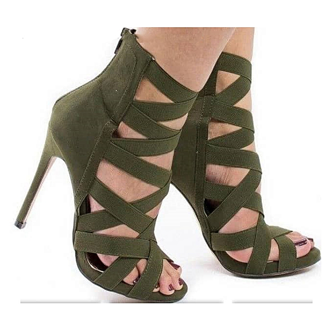 61ef529f1a6 Women's Strappy Heel Shoes - Army Green