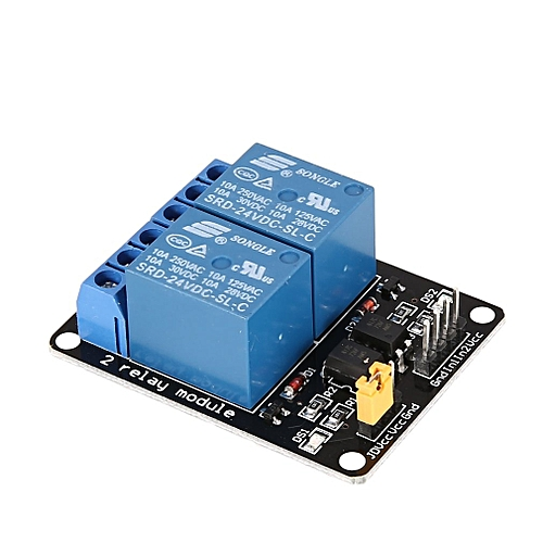 24V 2 Way Relay Module Interface Board Low Level Trigger Optocoupler  Arduino Blue & Black