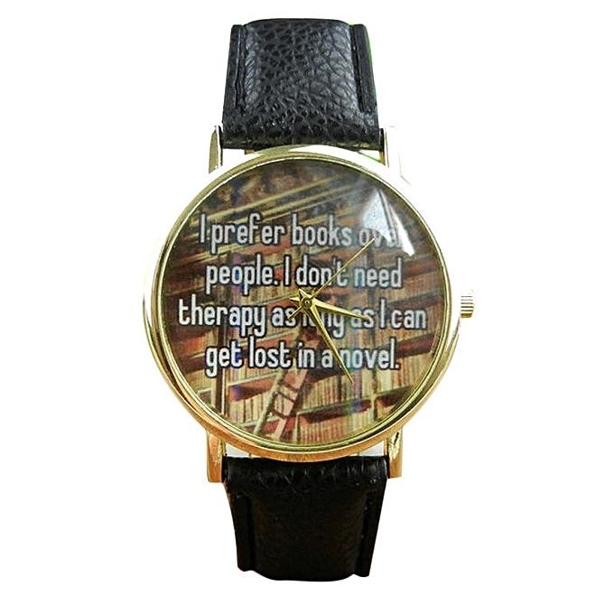 ead5bef08 Hiamok Literal English Leather Band Analog Quartz Vogue Wrist Watches BK
