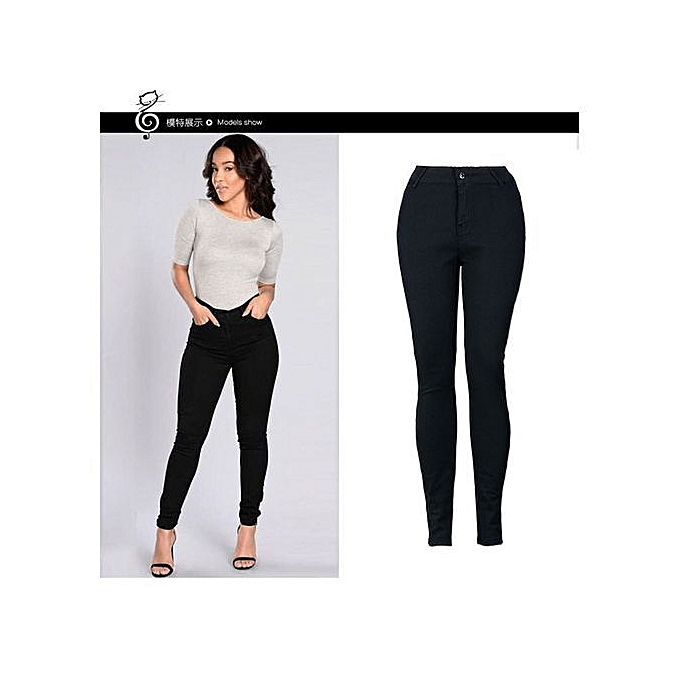 5ae4193eb7 Refined Women Slim High Waist Jeans Fashion Causal Solid Color Stretch Denim  Pants Wild Basic Trousers