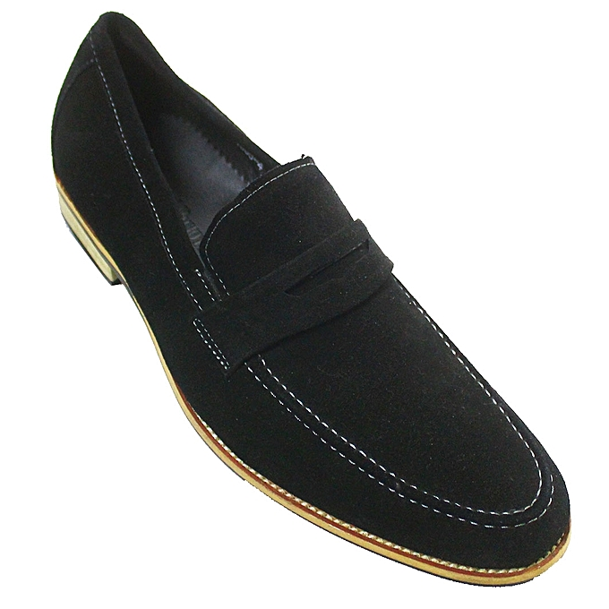 742ce7a3464 Suede Penny Loafers - Black ...