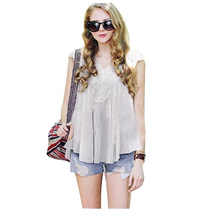 3d6785d3638cbe Hiamok Plus Size Women Summer Lace Splice Chiffon Vest Top Sleeveless Blouse  Tank WH L