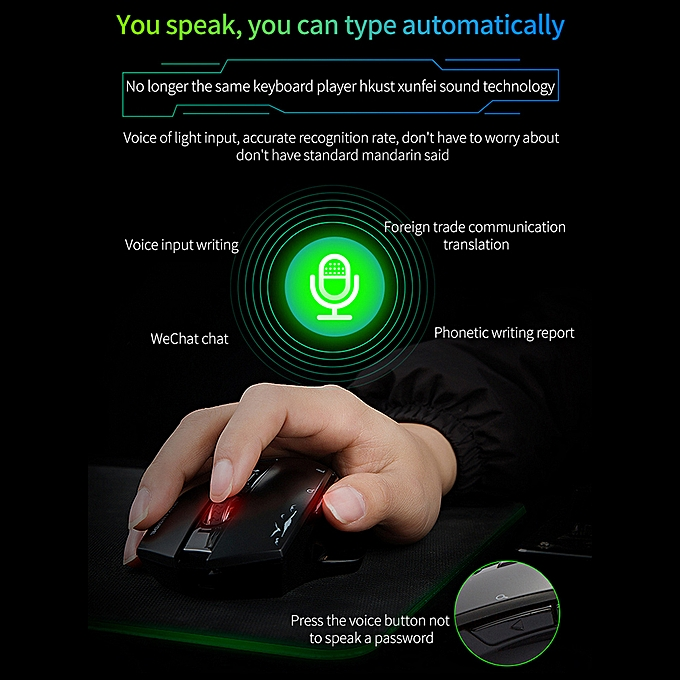Wireless Mouse Game Mouse 1600DPI Support 24 Languages Hipo Voice Mouse  Typing Search Translation 2 4GHz Computer Mice for Laptop PC Mouse Windows  7 8
