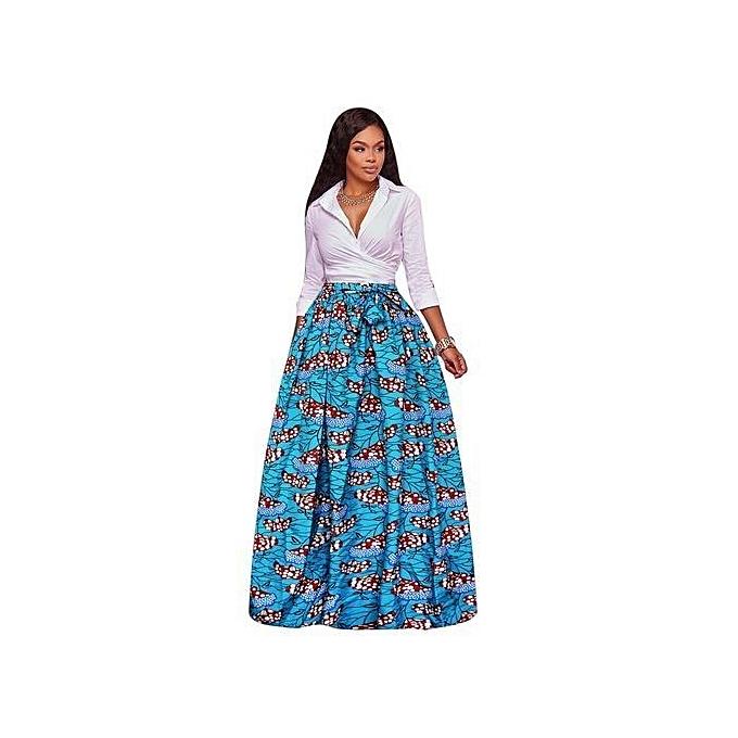 3e946e931 Women Printing High Waist Skirt Women Summer Autumn Maxi Skirt Plus Size  Green Bohemian Evening Party