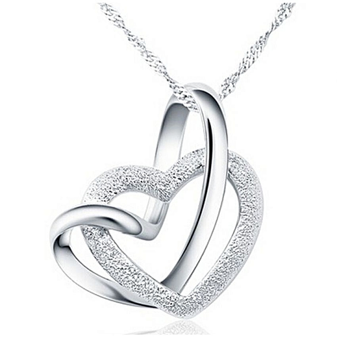Buy silver double heart pendant necklace best price online silver double heart pendant necklace mozeypictures Image collections