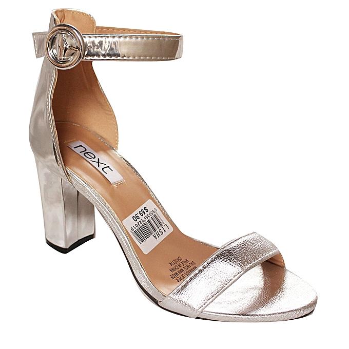 920e2d87f Next Ankle Strap Block Heel Sandals - Silver