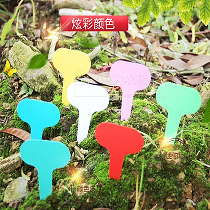 100Pcs Plastic T-type Garden Tags Plant Flower Label Nursery Thick Tag  Markers red