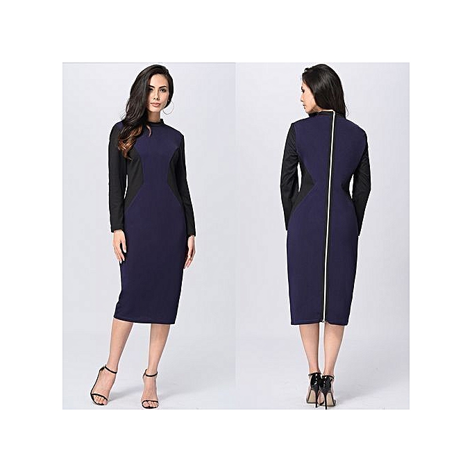 06f414c3cc Womens Autumn Winter Elegant Patchwork Slim Casual Work Business Office  Party Fitted Bodycon Pencil Sheath Dress-blue