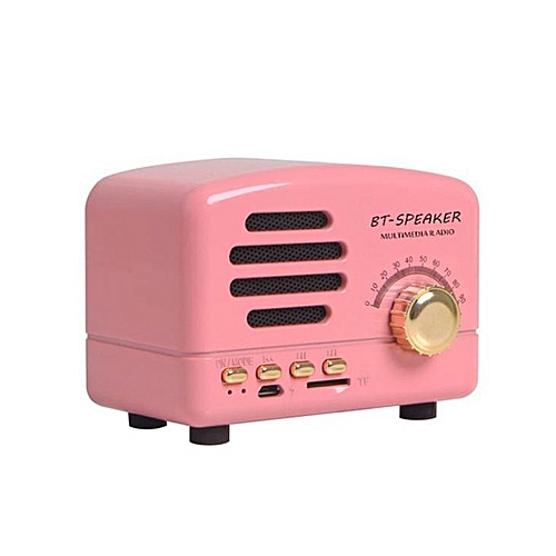 Vintage Style Wireless Speaker Portable Bass 3D Stereo Music Player pink