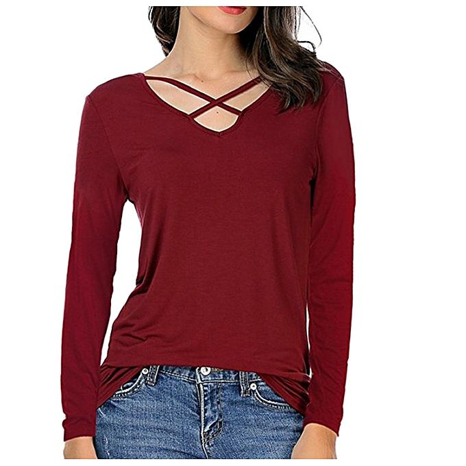 e42ee0f8 Hiamok Women Fashion Cotton V-neck Blouse Long Sleeve Shirt Casual Tops RD/L