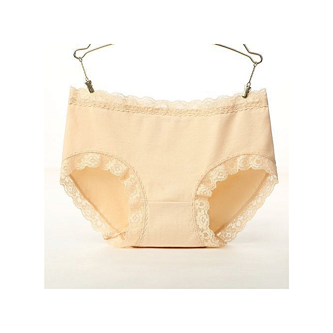 ba6385fb75a One-piece cotton underwear ladies mid-rise lace side girls panties Large  size sexy