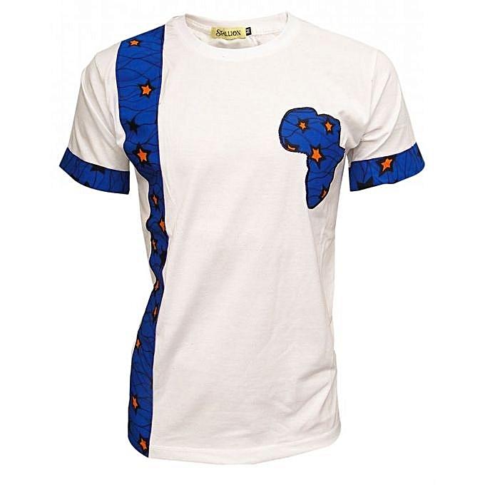 82653ad33f7 Designer African Print Men s T-Shirt - White