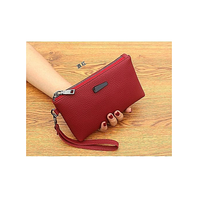 dea7ed89a7f Korean Women's Clutch Bag Mobile Phone Bag Large Capacity Coin Purse Small  Square Bag—red