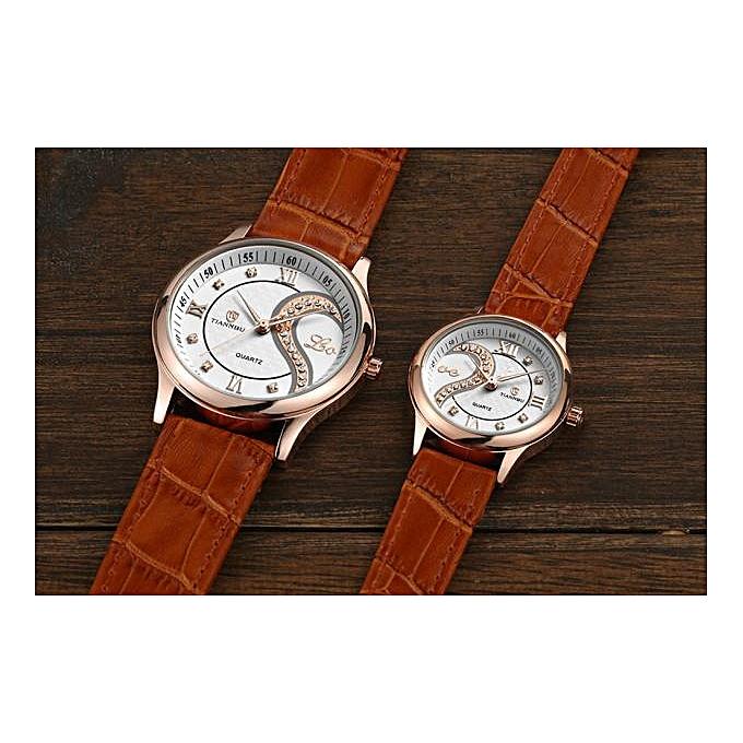... Hiamok 1 Pair Tiannbu Ultrathin Leather Romantic Fashion Couple Wrist Watches GD