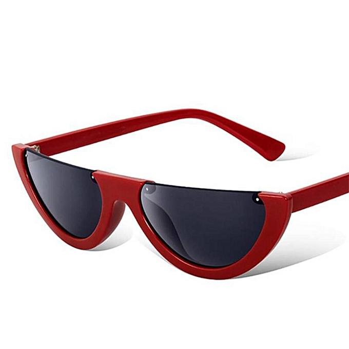 cca5f0e15f3 No Name Semi Rimless Narrow Frame Cat Eye Sunglasses - Red