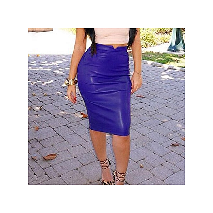 47b32455d Buy Generic Stylish Autumn And Winter Women Blue PU Leather Skirt ...