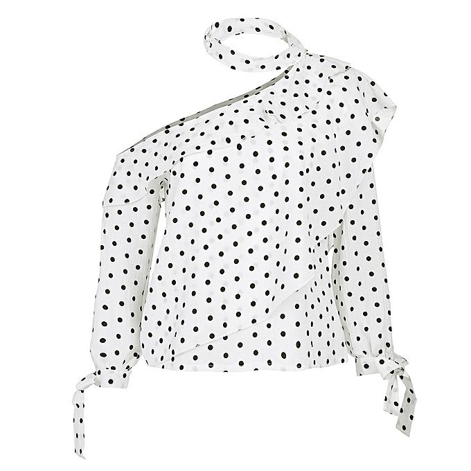 3f9cfccf939 Hiamok Women One Shoulder Polka Dot Blouse Tops Lantern Sleeve Chiffon Bow  Shirt