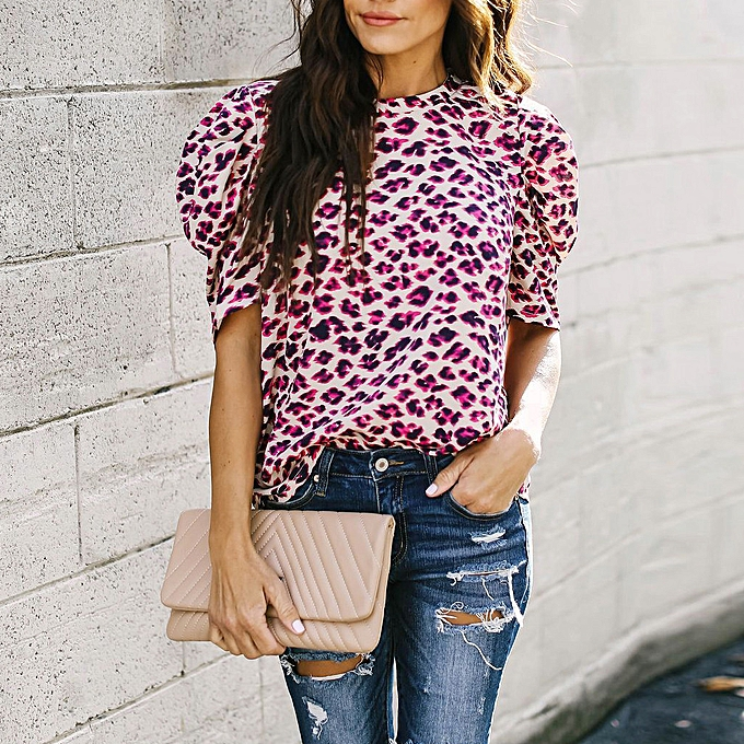 a2bf7fce8f881b Hiamok Women Leopard Print Casual Top T Shirt O-Neck Short Sleeve Top Blouse