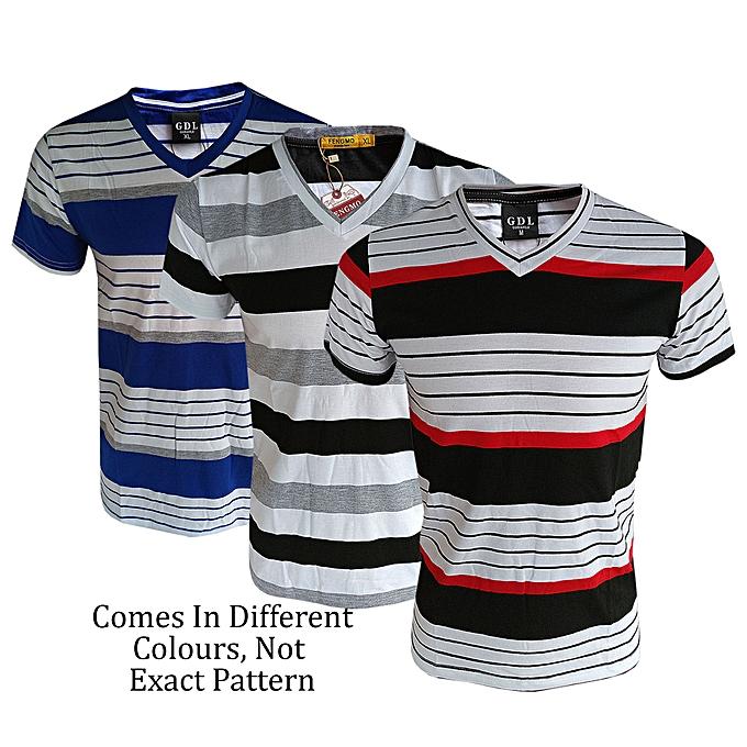 9fadbf81 New Mega Pack Of 3 Striped V-Neck T - Shirts - Multi Coloured ...