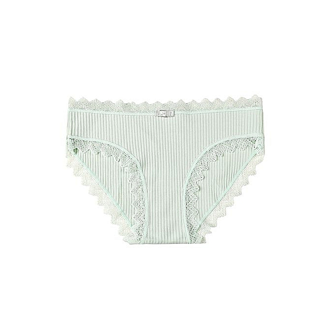 40152a28b4ea Lace-trimmed student triangle underwear knitted cotton seamless underwear- green