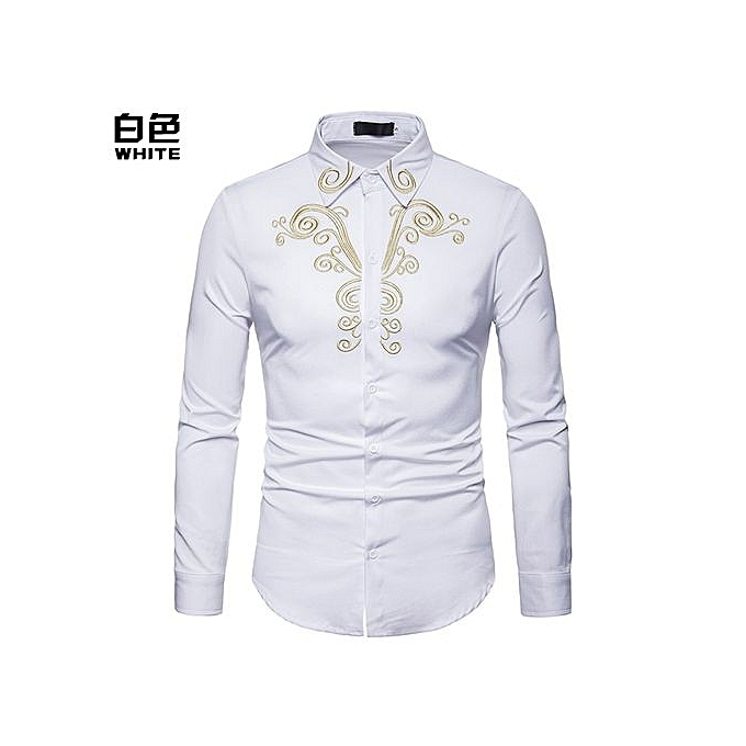 fbf63e8fdf Men Shirt Long Sleeve Shirt Palace Style Embroidery Slim Fit Male Shirts  Turn-Down Collar