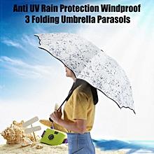 e2cd03673 Women Lady 3 Folding Parasols Anti-UV Windproof Sun Rain Protection Umbrella(Black  Pattern