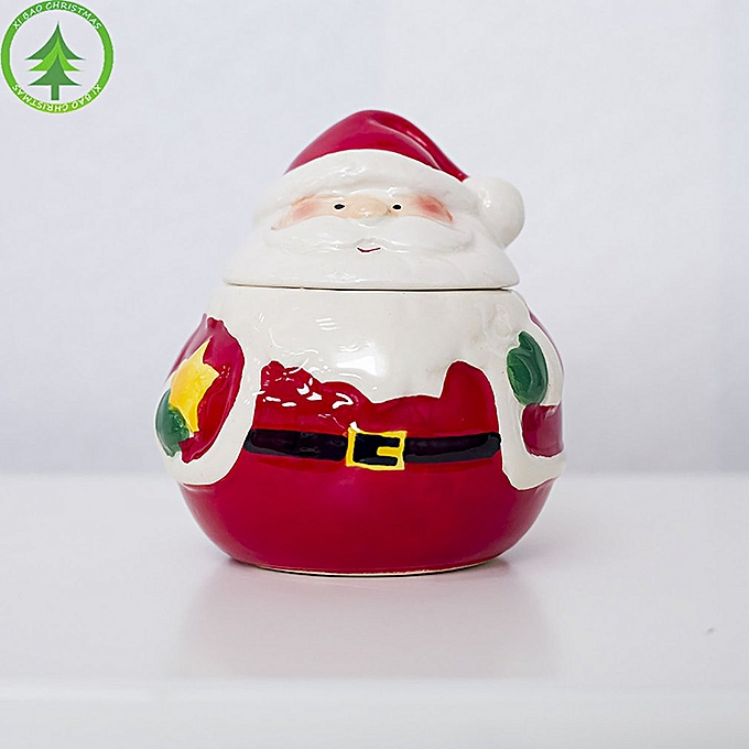 Christmas Ceramic Spice Jar Kitchen Decoration Creative Santa Seasoning Box Multicolor With Star