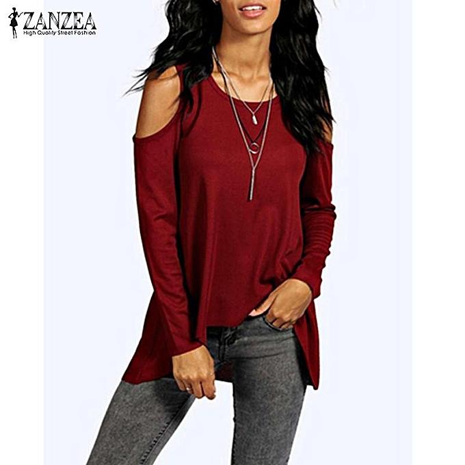 ad65f6b24d7 ZANZEA Summer Women Off Shoulder Casual O-Neck Long Sleeve Plus Size Blusas Tops  Blouses