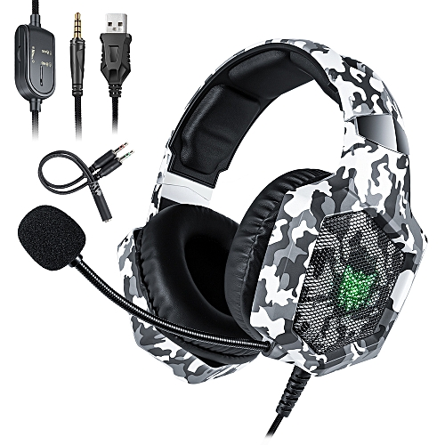 K8 3 5mm Gaming Headset Stereo Over-ear Headphones RGB LED Lights  Noise-canceling Microphone Volume Control for PS4 New Xbox One PC Computer  Laptop