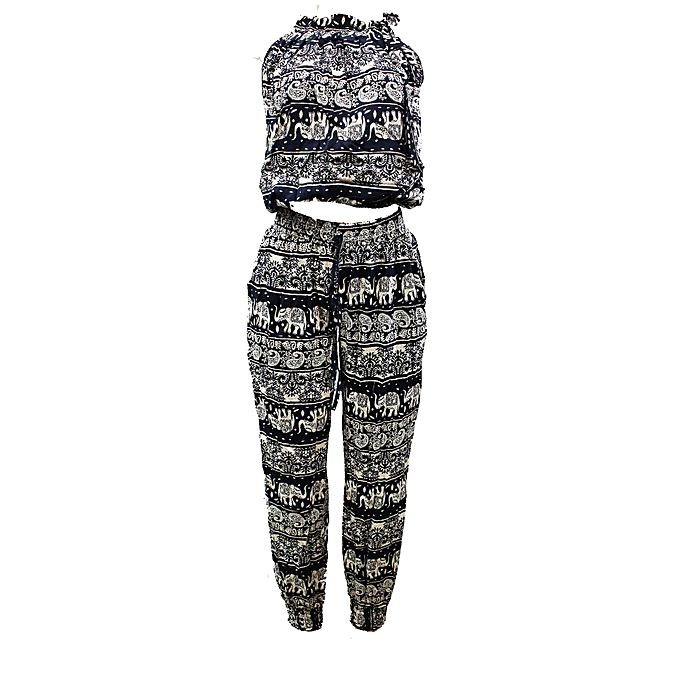 a418e6fa3439 Other Elephant print two piece jumpsuit-Black White.
