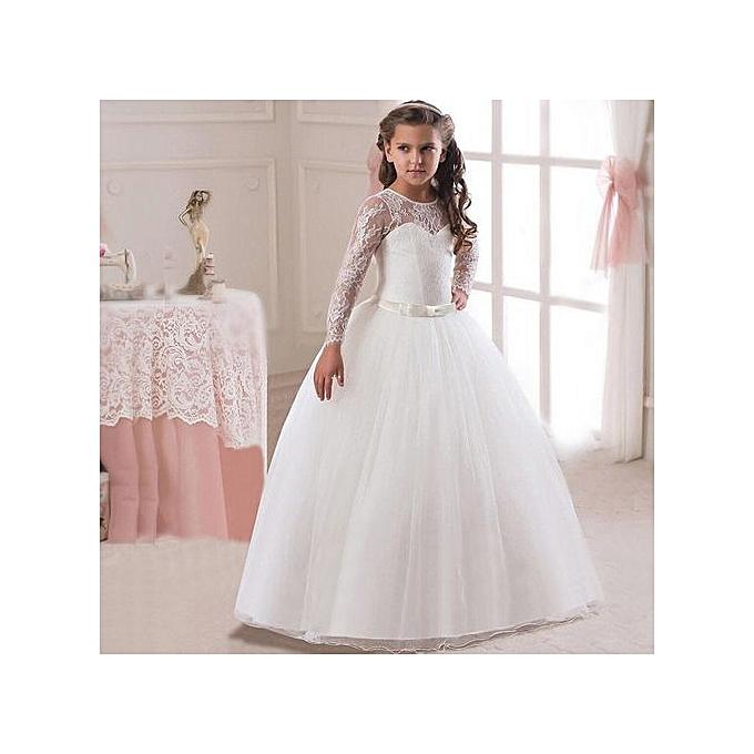 9deaebd258c76 Girls Lace Wedding Flower Dress Kids Elegant Lace Tulle Dres Girls Princess  Party Long Dress Baby Girls Clothing-white