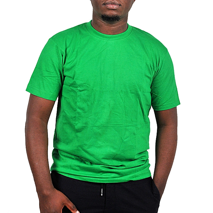 0cd10e0a3 Buy Generic Plain Green Round Neck Men's T-Shirt - Green online ...
