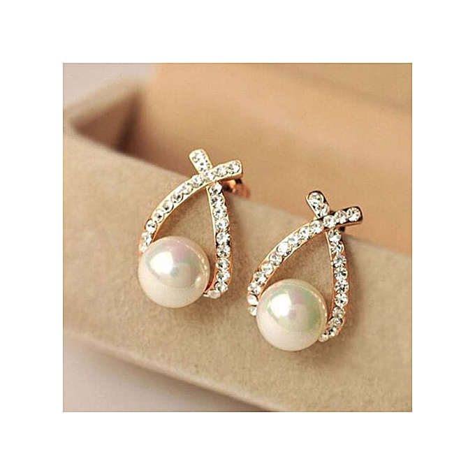 Refined Elife Girls Lady Elegant Decorative Pearl Crystal Rhinestone Gift  Ear Stud Earrings
