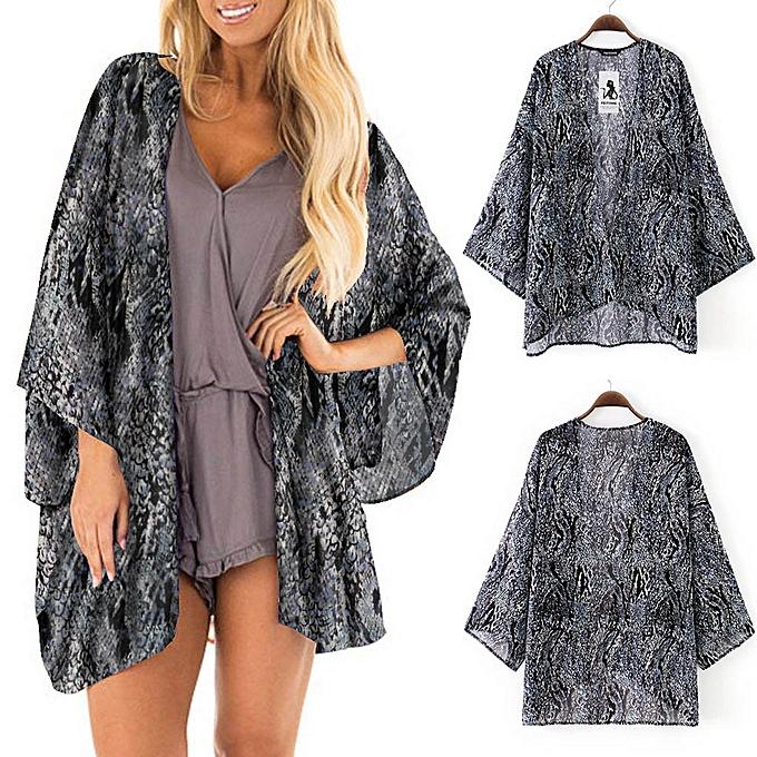 4b979bc7be8e9 Hiamok Womens Sheer Chiffon Beach Kimono Cardigan Blouse Shawl Loose Tops  Outwear