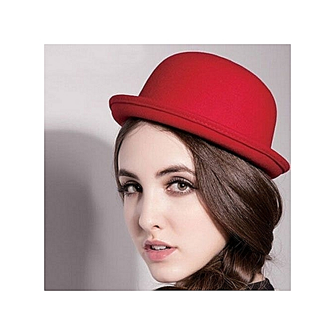 c27fa992d Fashion Roll-up Brim Bowler Hat - Red