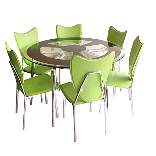 6 Seater Round Dining Table: - Round Dining Table 6 Seater Green Chairs + Glass Table