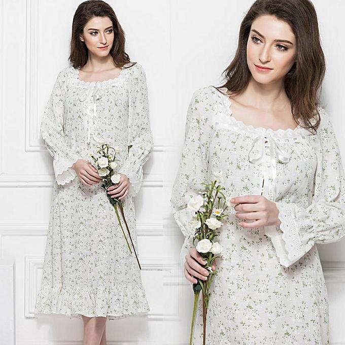 747f7e90 Women Cotton Nightgown Mid-calf Length Long Sleeve Sleep Dress Nightwear  (White L)