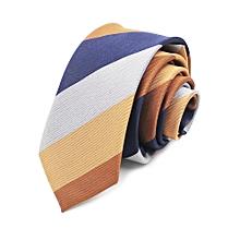 dc6fa14fa882 012 yellow brown black gray striped polyester silk tie