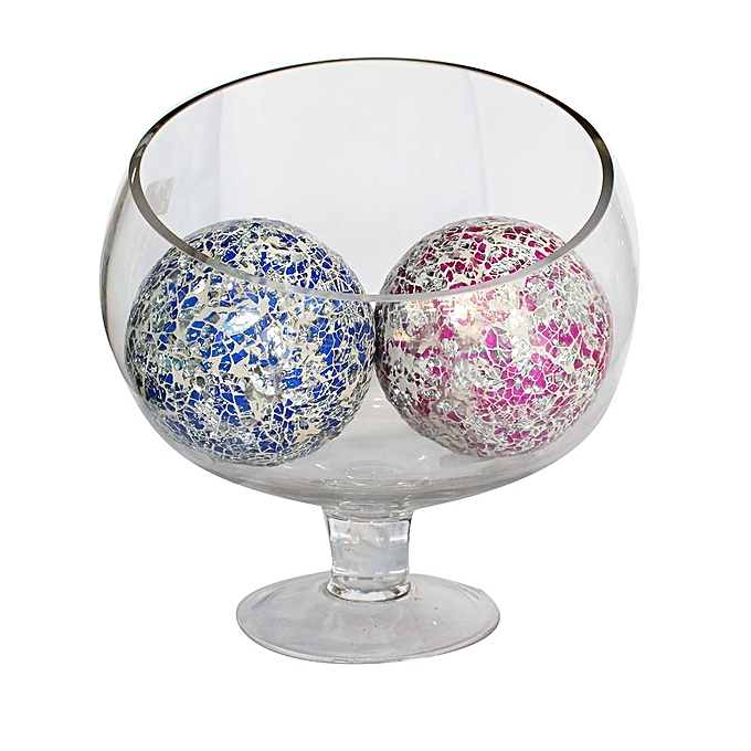 Buy Decorative Clear Vase With 2 Crushed Mosaic Balls Mv4755