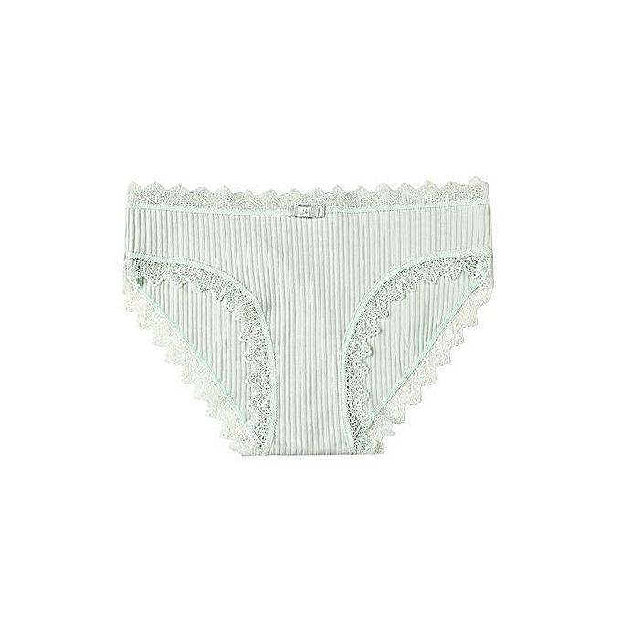 71904d0c3875 Sweet girl underwear female cute seamless underwear lace side student cotton  briefs-green