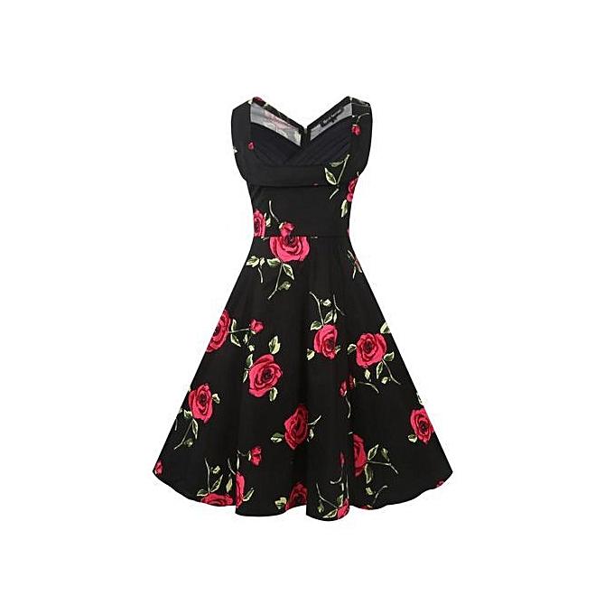 a1bd601c9ccf1 Women's Summer Hepburn Vintage Pastoral Print Sleeveless Pleated V-neck  Large Puff Princess Dress-Multi4