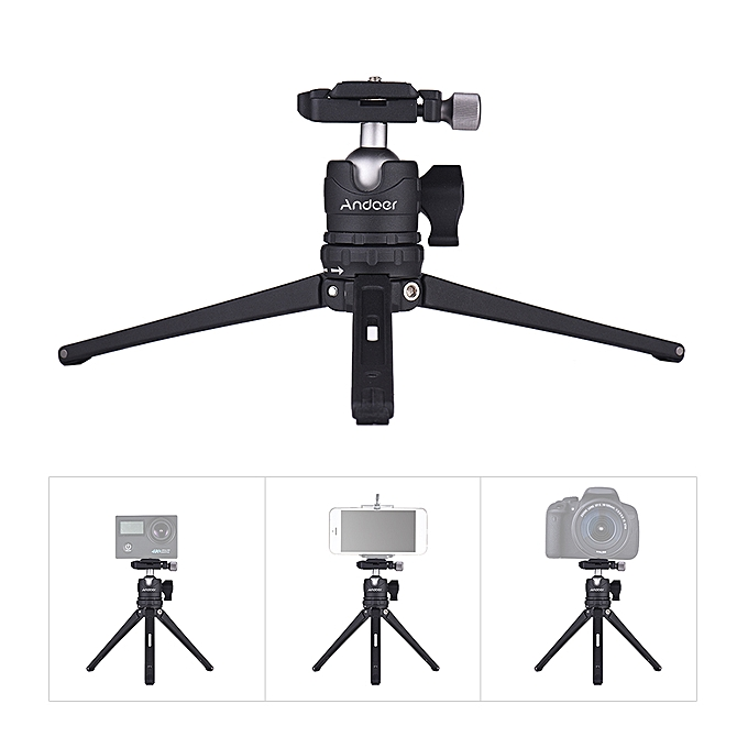 Andoer Table Desktop Mini Travel Tripod with Ball Head Quick Release Plate  for Nikon Sony DSLR for GoPro Hero 6/5/4/3+ for Yi Lite 4K for iPhone X 8 7