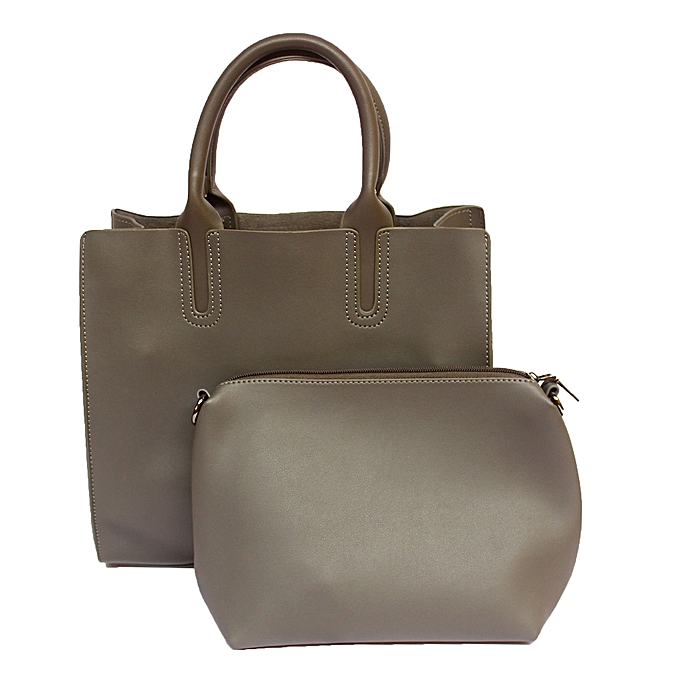 Faux Leather Handbag With Pouch Grey
