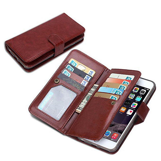 on sale 9fb4b 4245b Hiamok 9 Card slot Leather Wallet Case Flip Cover For Apple iPhone 6S Plus  BW
